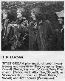 Stuart Cowell of Titus Groan – a British Eclectic Rock Band of 1970